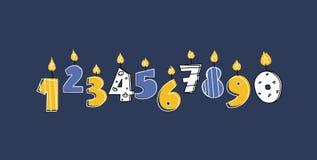 Ilustracao De Desenho Animado De Numeros De Velas De Queimadura De Aniversario Com Chamas Queimadas Isoladas Na Escuridao Ilustracao Stock Ilustracao De Chamas Desenho 160284926