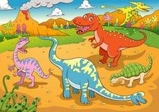Ilustração de desenhos animados bonitos dos dinossauros Imagem de Stock