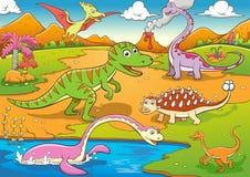 Ilustração de desenhos animados bonitos dos dinossauros Fotos de Stock
