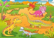 Ilustração de desenhos animados bonitos dos dinossauros Fotos de Stock Royalty Free