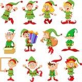 Ilustração de desenhos animados de muitos elfs Foto de Stock
