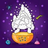 Ilustração de Dia das Bruxas para cartões, cartazes Grande caldeira, caldeirão O potenciômetro de vidro A poção mágica, poção de  Imagem de Stock