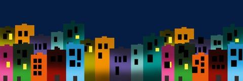 Ilustração de Digitas de construções coloridas da cidade na noite fotografia de stock royalty free