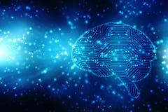 Ilustração de Digitas da estrutura do cérebro humano, fundo criativo do conceito do cérebro, fundo da inovação Foto de Stock