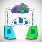 Ilustração de Digitas de intercâmbio de dados entre o móbil dois Fotos de Stock