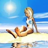 Ilustração de Digitas de Toon Girl Imagens de Stock