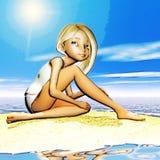 Ilustração de Digitas de Toon Girl ilustração stock