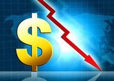 Ilustração de diminuição do valor do dólar Fotografia de Stock