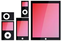 Ilustração de dispositivos tecnologicos no preto com SCR colorido Imagem de Stock