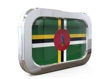 Ilustração de Dominica Button Flag 3D Fotos de Stock