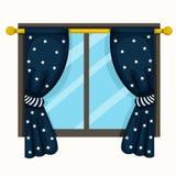 A ilustração de drapeja e janelas ilustração royalty free