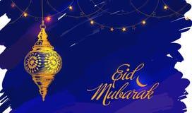 Ilustração de Eid Mubarak Lanterna islâmica e árabe bonita imagem de stock royalty free