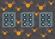 Ilustração de explorações agrícolas da mineração do cryptocurrency ilustração royalty free