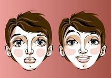 Ilustração de expressões faciais diferentes da Foto de Stock