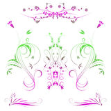 Ilustração de flores coloridas com inclinação Imagens de Stock