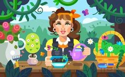Ilustração de flores molhando de uma menina no jardim, colorida ilustração do vetor