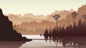 Ilustração de Forest Hills com sua reflexão no lago ilustração stock