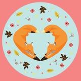 Ilustração de foxs dados forma do coração imagem de stock