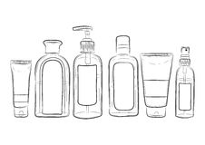 ilustração de garrafas tiradas mão para cosméticos ilustração do vetor