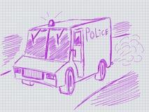 A ilustração de hadwritten o carro de polícia Foto de Stock Royalty Free