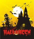 Ilustração de Halloween com castelo Fotos de Stock