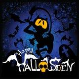 Ilustração de Halloween com gato preto Imagens de Stock Royalty Free