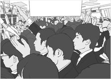 Ilustração de homens do salário no metro aglomerado, carro do metro nas horas de ponta ilustração stock