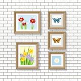 Ilustração de imagens da natureza em uma parede Imagens de Stock Royalty Free