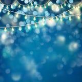 Ilustração de incandescência de brilho dos bulbos do bokeh do Natal Vetor do EPS 10 Imagens de Stock