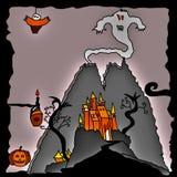 Ilustração de incandescência do Dia das Bruxas com caráteres assustadores ilustração royalty free