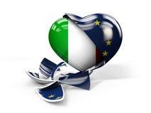 Ilustração de Itália ITexit, União Europeia quebrada Imagem de Stock