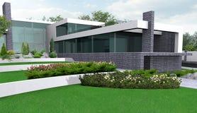 Ilustração de jardinagem da propriedade luxuosa, 3d exterior com completo ilustração do vetor