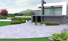 Ilustração de jardinagem da propriedade luxuosa, 3d exterior com completo foto de stock royalty free
