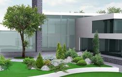 Ilustração de jardinagem da propriedade luxuosa, 3d exterior com completo ilustração royalty free