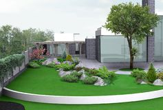 Ilustração de jardinagem da propriedade luxuosa, 3d exterior com completo ilustração stock