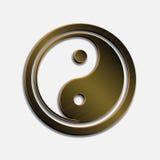 Ilustração de Jin Jang metálico de bronze, fundo branco Fotografia de Stock Royalty Free