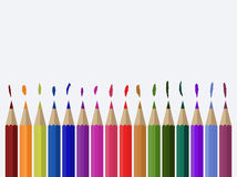 Ilustração de lápis coloridos no fundo da lona Imagens de Stock