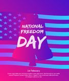Ilustração de Liberty Bell com a bandeira do Estados Unidos da América como o fundo Fotografia de Stock Royalty Free