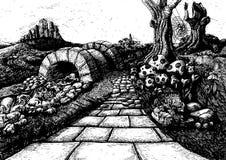 A ilustração de livro da história do conto de fadas da rota em nenhuma parte - ilustração do vetor
