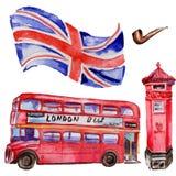 Ilustração de Londres da aquarela Símbolos tirados mão de Grâ Bretanha Ônibus britânico ilustração do vetor