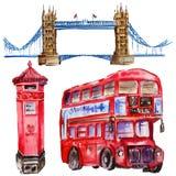 Ilustração de Londres da aquarela Símbolos tirados mão de Grâ Bretanha Ônibus britânico ilustração royalty free