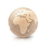 A ilustração de madeira Europa e África do globo 3D traça Imagens de Stock