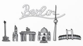 Ilustração de marcos de Berlim Fotografia de Stock