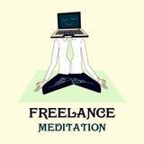 Ilustração de meditar o funcionamento do freelancer Fotos de Stock Royalty Free