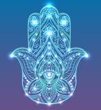 Ilustração de néon de Hamsa azul com teste padrão do boho com luzes de néon e fulgor Mão das Budas ilustração royalty free