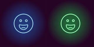 Ilustração de néon de sorrir o emoji Engrena o ícone ilustração do vetor