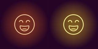 Ilustração de néon de sorrir o emoji Engrena o ícone ilustração stock