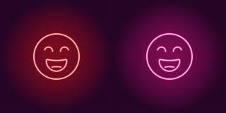 Ilustração de néon de sorrir o emoji Engrena o ícone ilustração royalty free