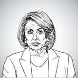 Ilustração de Nancy Pelosi Vetora Portrait Drawing San Francisco, o 29 de dezembro de 2017 ilustração stock