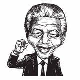 Ilustração de Nelson Mandela Cartoon Caricature Vetora ilustração stock